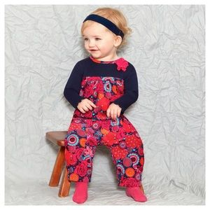 Le Top Baby Girls Long Sleeve Floral Romper 6M